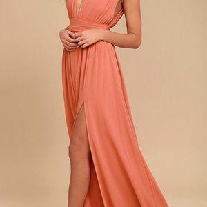 Heavenly Hues Rusty Rose Maxi Dress